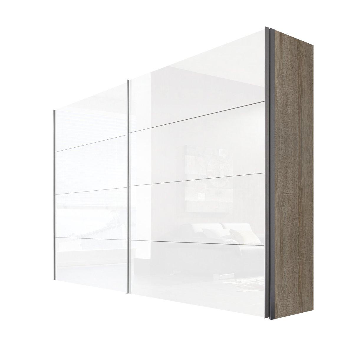 Solutions 47560-768 Schwebetürenschrank 2-türig, Korpus Sonoma-eiche, Front lack weiß, Griffleisten alufarben, 68 x 300 x 216 cm
