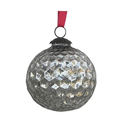 Handmade Antique Star Cut Silver Mercury Glass Hanging Ball Christmas Ornaments-Set of 6 | christmastablescapedecor.com