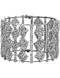 The Jewelbox Free Size American Diamond Rhodium Plated Cuff Kada Bangle For Women