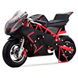 Pocket Bike Mini Motorcycle Gas 40CC Powered Ride On Red Boys Girls Youth New (Color: red)