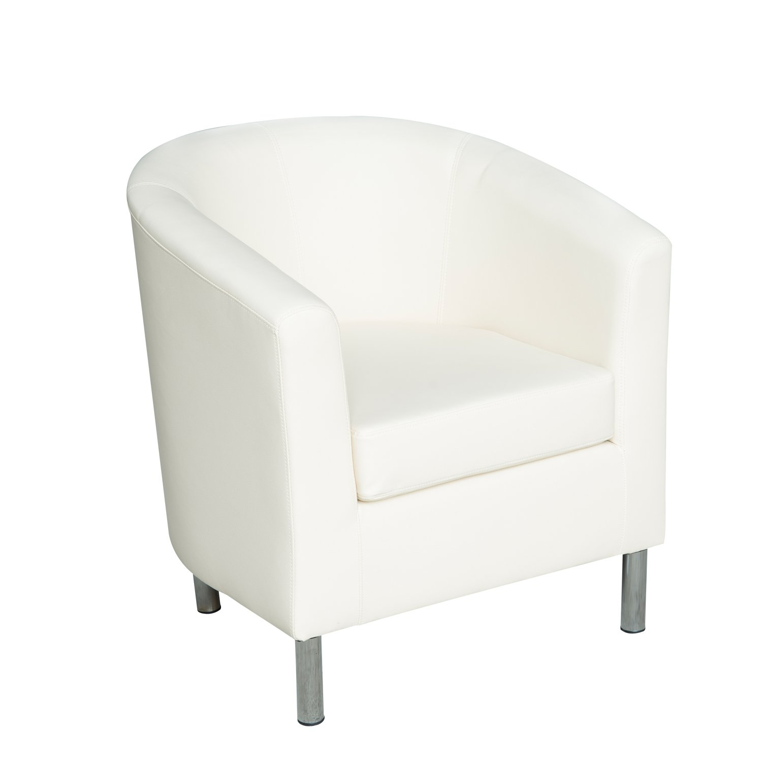 HomCom Modern PU Leather Tub / Barrel Club Arm Seat Chair - Ivory at Sears.com