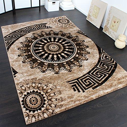 Tappeto Classico Lavorato Cerchio Ornamenti Marrone Beige Nero Screziato , Dimensione:160x230 cm