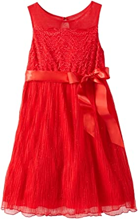 My Michelle Big Girls' Lace-To-Pleated Dress with Illusion Neckline, Red, 7