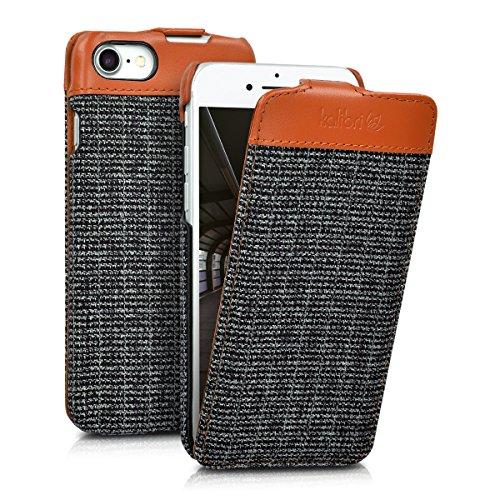 kalibri-Flip-Case-Hlle-Emma-fr-Apple-iPhone-7-Aufklappbare-Stoff-und-Echtleder-Schutzhlle-Tasche-im-Flip-Cover-Style-in-Braun-Anthrazit