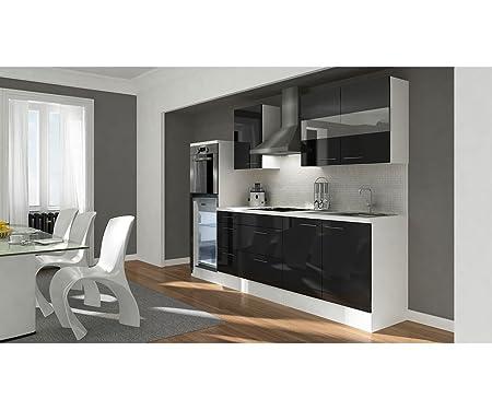RESPEKTA Kuchenzeile »Premium«, Breite 270 cm schwarz/weiß