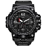 Bounabay Men's Military Digital Sport Watch Water Resistant Outdoor LED Back Light Display,Black