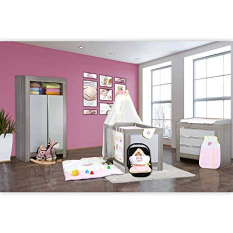 Babyzimmer Felix in akaziengrau 9 tlg. mit 2 turigem Kl. + Set kleine Eule in Rosa