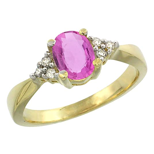 14ct Yellow Gold Natural Pink Sapphire Ring Oval 7x5mm Diamond Accent, sizes J - T