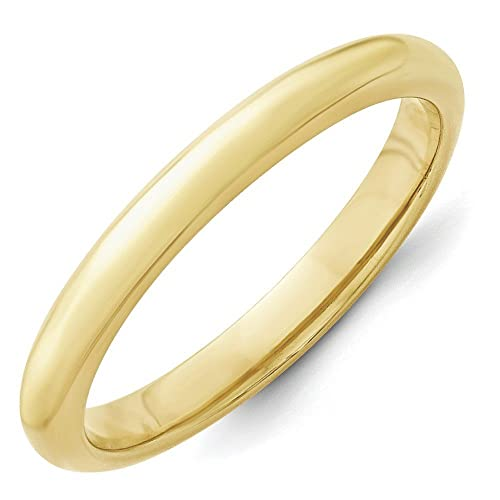 10k Yellow Gold 3mm Standard Comfort Fit Band Size M 1/2 Ring - Higher Gold Grade Than 9ct Gold