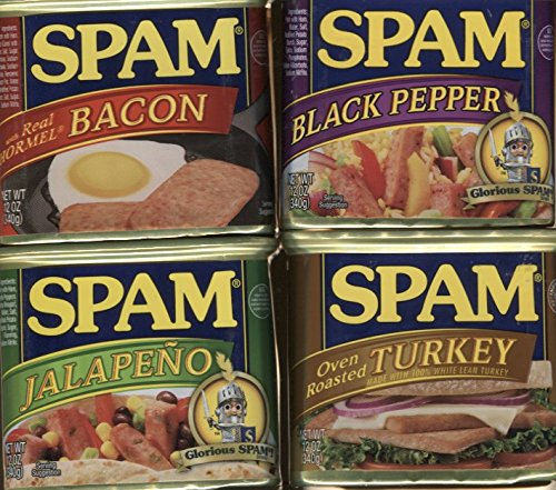 Spam Bundle of Four Flavors - Turkey, Bacon, Black Pepper, and Jalapeno (Hormel Canned Turkey compare prices)