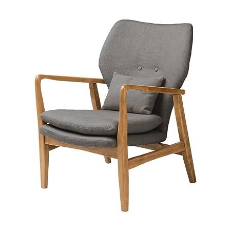 Fusion Living Grey Upholstered Mid Century Scandinavian Armchair