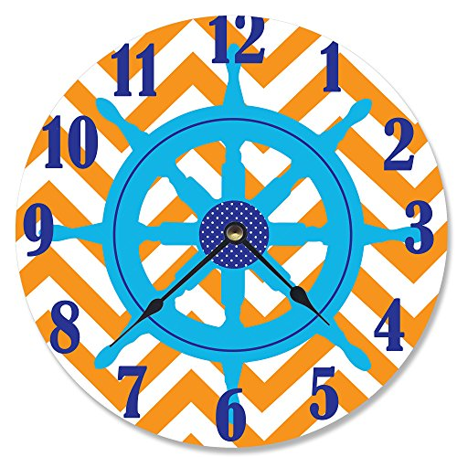 The Kids Room by Stupell Ship Helm Wheel Orange Chevron Wall Clock