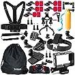 Somate 46-in-1 Sport Essential Accessories Bundle Kit for Gopro Session GoPro HERO 4/3+/3/2/1 SJ4000 SJ5000 SJ6000 Silver Black Action Camera