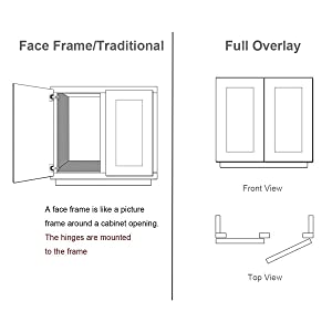Probrico Soft Opening Face Frame Mounting Concealed Hinges Full Overlay,1 Pair (Color: 1 Pair, Tamaño: Face Frame Hinges)