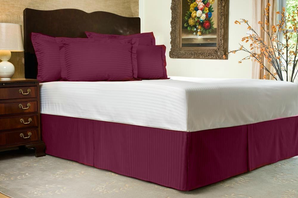 Luxurious Living 500 Thread Count 100% Egyptian Cotton Striped Wine Full XL Bed Skirt with 28 Drop Length by HotHaat lacasa bedding 400 tc egyptian cotton fitted sheet 18 extra deep pocket italian finish solid twin xl wine