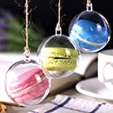 Transparent Plastic Clear Round Macaron Box Candy Boxes Wedding Favor Boxes Supplies Baby Shower Favors Box Baby Shower Birthday Party Favo Christmas Decorations (100, Diameter 5cm) (Tamaño: Diameter 5cm)