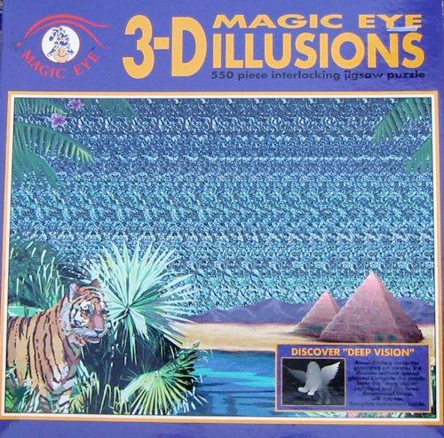 Cheap Fun Magic Eye 3-D Illusions 550pc. Puzzle-Tiger Pyramid (B003YDX0XY)