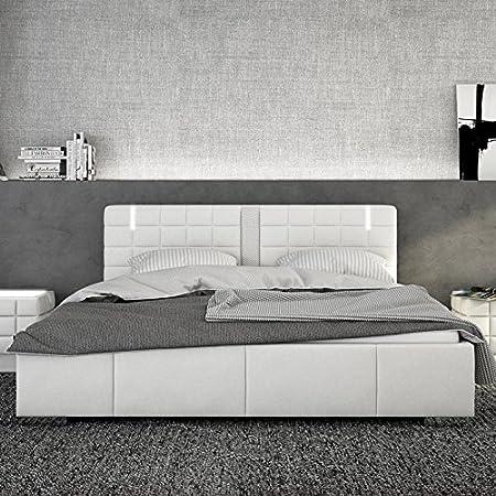 Innocent cama acolchada de 180 x 200 cm con cuero sintético blanco LED y altavoz con colchón Century