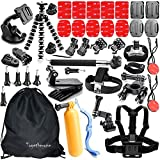 Togetherone 42 in 1 Essential Accessories Bundle Kit for Gopro Hero 4 Gopro Hero 3 + Gopro Hero 2 Camera Accessory Kit for GoPro 4 and SJ4000 SJ5000 SJ6000, Sports Camera Accessory Set in Parachuting Diving Surfing Rowing Running Cycling Camping