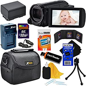 Canon VIXIA HF R700 Full HD Camcorder with 57x Advanced Zoom - Black (International Version) + Rechargeable Battery & AC/DC Charger + 32GB 8pc Accessory Kit w/ HeroFiber Cleaning Cloth