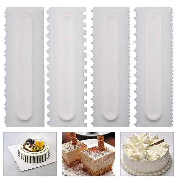 Teenitor Cake Scraper Cake Smoother 7 Pcs Cake Icing Scraper Cake Smoother Scraper Cutters Smoother Tool Set