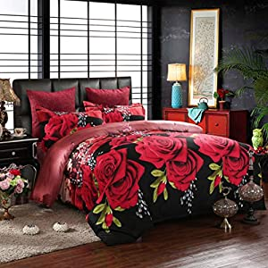 Red Rose Black Skin Floral 100% Cotton Queen Size 3d Print Bedding Set (1 Duvet Cover + 1 Bed Sheet + 2 * Pillow Case)