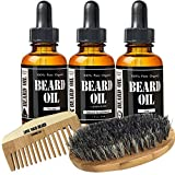 Starter Beard Kit by Leven Rose - Three Scented Beard Oils, Boar Bristle Beard Brush, Spiced Sandalwood Beard Oil, Escape Cedarwood Beard Oil, Zen Juniper Beard Oil and Beard Comb