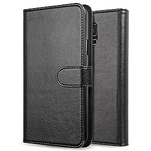 NOOT® Samsung Galaxy S5 Black Wallet Case Flip Cover for Galaxy S5 / Galaxy SV / Galaxy S V (2014) - ECO-Friendly Packaging - LIFETIME WARRANTY