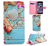 手帳型 シェル 可愛い キラキラ iPhone5 iPhone5s iPhoneSE iPhone6 iPhone6s ケース スターフィッシュ 高品質 (iPhone6/6S, シェル)