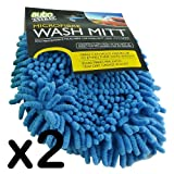 PACK 2 - BLUE MICRO FIBRE CAR WASH MITT - WASH GLOVE - 90,000 FIBRES PER INCH - IDEAL FOR POLISHING CAR EXTERIOR - LONG LASTING & MACHINE WASHABLE - SOFT GENTLE & SCRATCH FREE - HOLDS LIQUIED 8 TIMES THEIR OWN WEIGHT