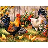 Blxecky 5D DIY Diamond Painting By Number Kits,Chicken coop(45X35CM/18X14inch)