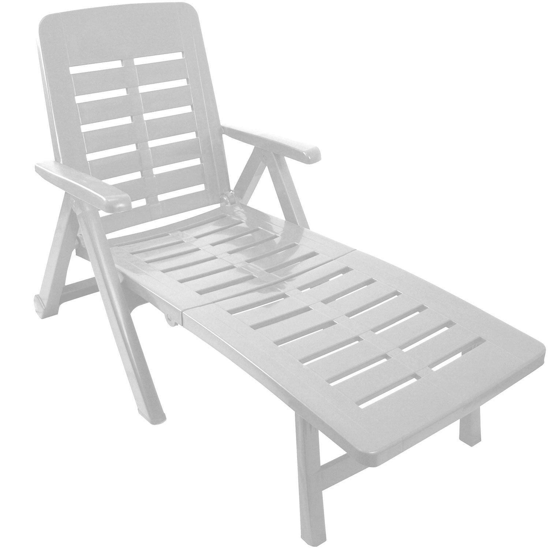 Klappbare Liege mit 2 Rollen Rücken 5-fach verstellbar Gartenliege Sonnenliege Rollliege Relaxliege Liegestuhl Gartenstuhl Klappstuhl Kunststoff – Weiss günstig