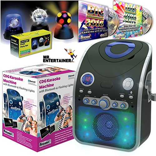 Mr Entertainer Bluetooth Home Karaoke Machine Package. Includes Party Disco Lights, Chart Hits & Kids Party CDG Songs and Two Mics