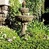 Garden Fountain Tuscan Three-Tier by Serena Collections Features Color Changing LED Lights, Dancing Water Attachments with Pineapple and Koi Fish Finial, Adds Timeless Elegance to your Outdoor Decor