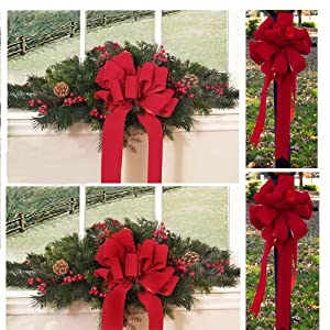 Set Of 2 Christmas Window Swags With 2 Red