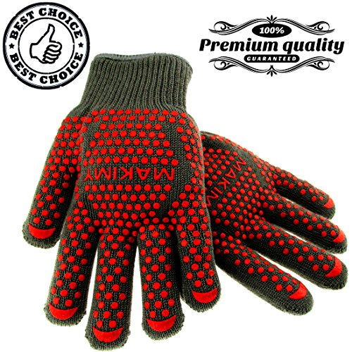 The Best Quality - 2 Professional Premium Barbecue & Grill Cooking Gloves Heat Resistant - Xl Size
