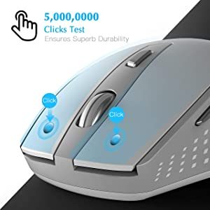 Wireless Mouse, WISFOX 2.4G Computer Mouse Wireless USB Mouse 6Buttons Ergonomic Mouse 5 DPI Optical Mouse Durable PC Wireless Mouse for Laptop, Great