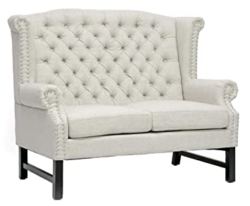 TOV Furniture Fairfield Linen Loveseat, Beige