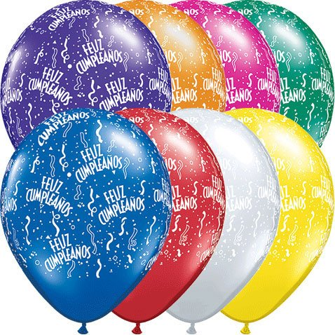 "11"" Feliz Cumpleanos Contempor Latex Balloons (10 per package)"