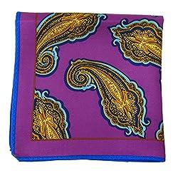 PS-A-378 - Pink - Yellow - Aqua Italian Design Silk Pocket Square