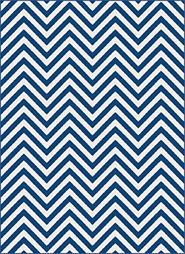 Contemporary Navy Chevron Patterned Symmetrical Waves 1017 Navy Area Rug (3' x 7' ( Rectangle))