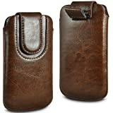 N4U ONLINE BROWN PREMIUM PU LEATHER PULL FLIP TAB CASE COVER POUCH FOR NOKIA 106 WITH MAGNETIC STRAP CLOSURE