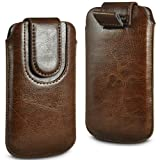 N4U ONLINE BROWN PREMIUM PU LEATHER PULL FLIP TAB CASE COVER POUCH FOR LG OPTIMUS L3 E400 WITH MAGNETIC STRAP CLOSURE