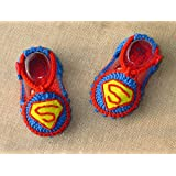 Blue With Decorative Hand-knitted Wool Baby Shoes Baby Toddler Soft Soled Baby Shoes Double Sole One Hundred Days... - B01A9RHPQK