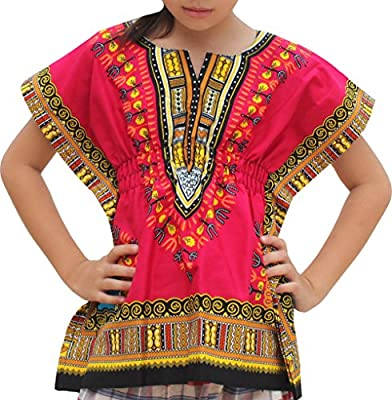 RaanPahMuang Unisex Childs African Dashiki Cotton Open Collar Shirt