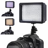 Panel de luz de vídeo Bestlight® Ultra alta potencia con 160 LED, con adaptador de zapata y adaptador de batería Li-ion de Panasonic para Canon, Nikon, Olympus, Pentax DSLR y videocámaras