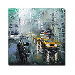 New York Rain by Mark Lague Premium Gallery-Wrapped Canvas Giclee Art (Ready-to-Hang)