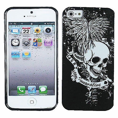White Skull Black Candy Rubber Tpu Soft Case Skin Cover For Apple Iphone 5 5S With Free Pouch