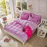 Cotton Blend Printed Pink Color Stripe Pattern Duvet Cover Sets Twin Size