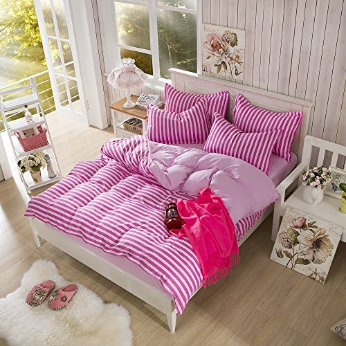 Learn More About Cotton Blend Printed Pink Color Stripe Pattern Duvet Cover Sets Full Queen Size